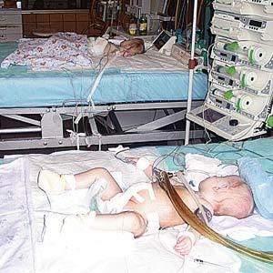 ...а вчера корреспондент «КП» сфотографировал их мирно посапывающими на разных кроватках. На переднем плане -Кристина.